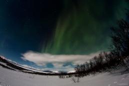 Qualche nuvola, che non copra però l'aurora, riempie l'immagine.